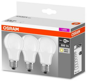 3 x LED Base Classic A 9W E27 W/827 OSRAM